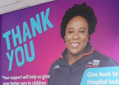 Photo of new Barts Charity wall vinyl. Featuring Jo Bakah saying thank you