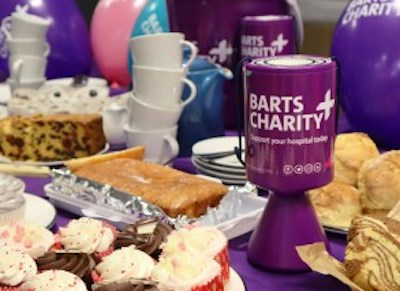 Barts Charity bake sale and collection tin