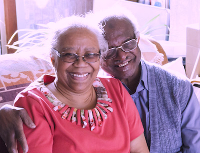 Patient who receives remote patient monitoring, pictured with his wife
