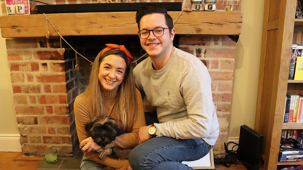Patient Beth with her boyfriend and their dog, Bart