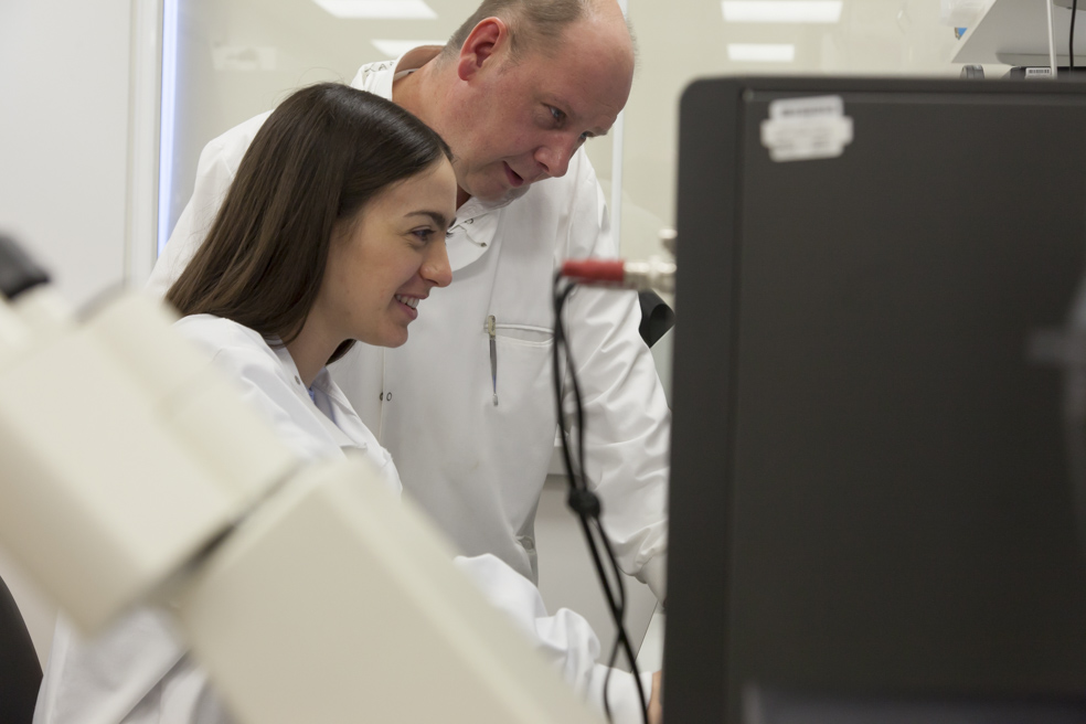 Scientists research in a lab