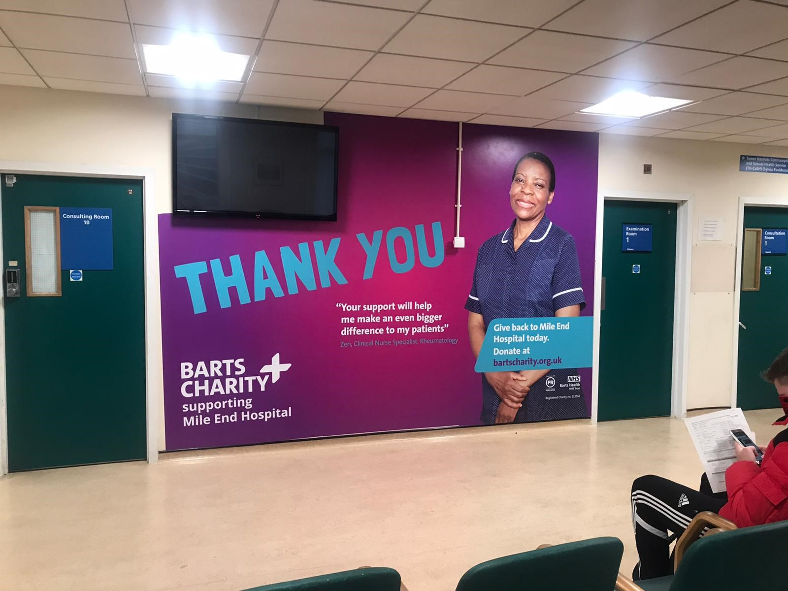 Fundraising wall vinyl at Mile End Hospital