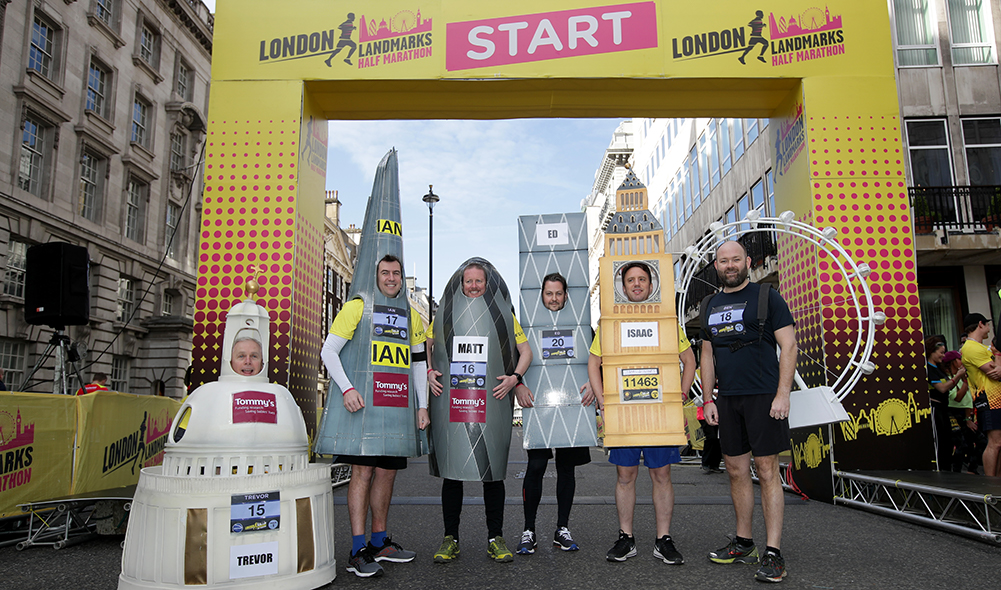 Runners dressed as iconic buildings in London for the London Landmarks Half Marathon