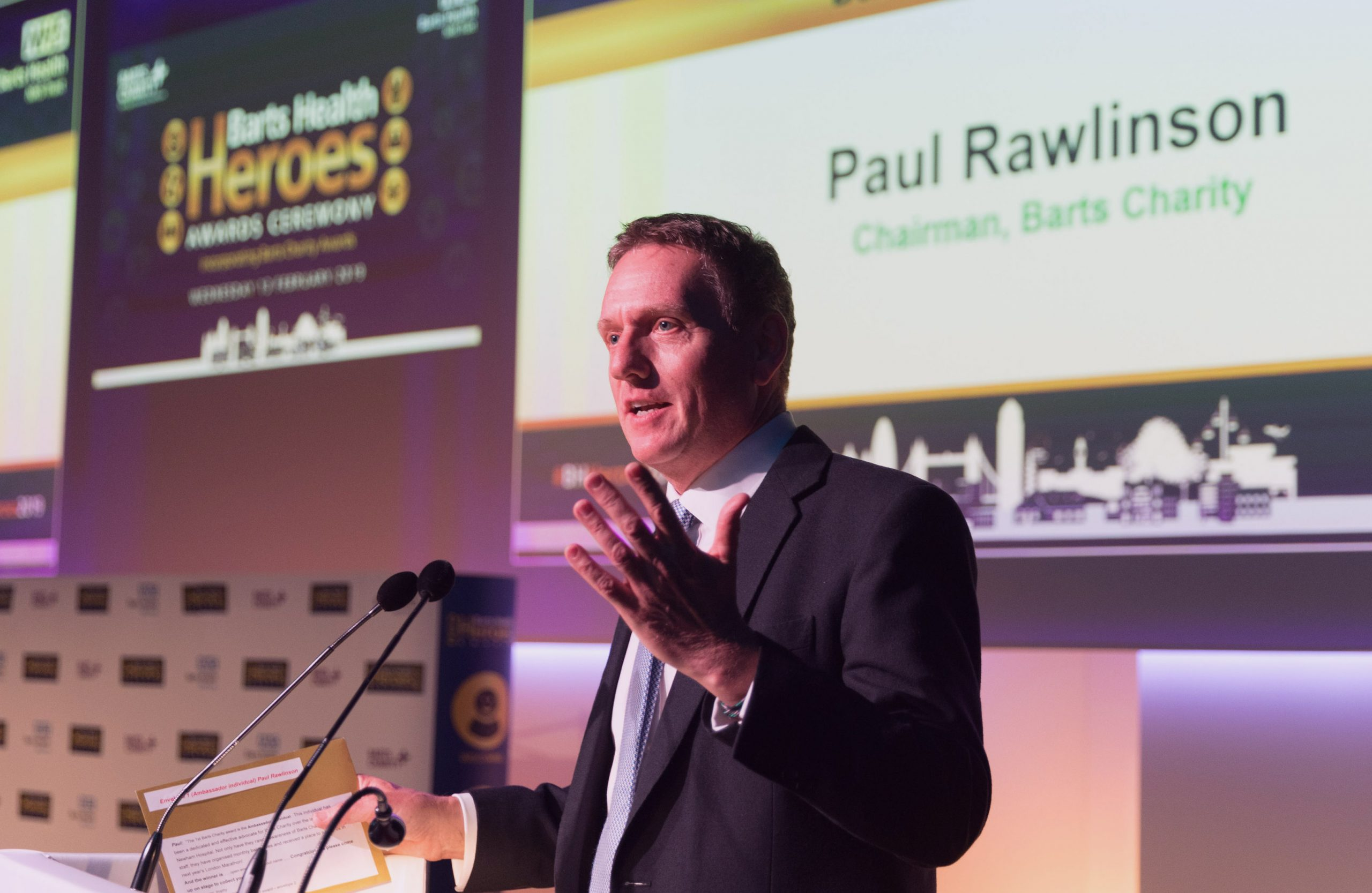 Barts Charity chairman Paul Rawlinson speaks at the Barts Health Heroes awards