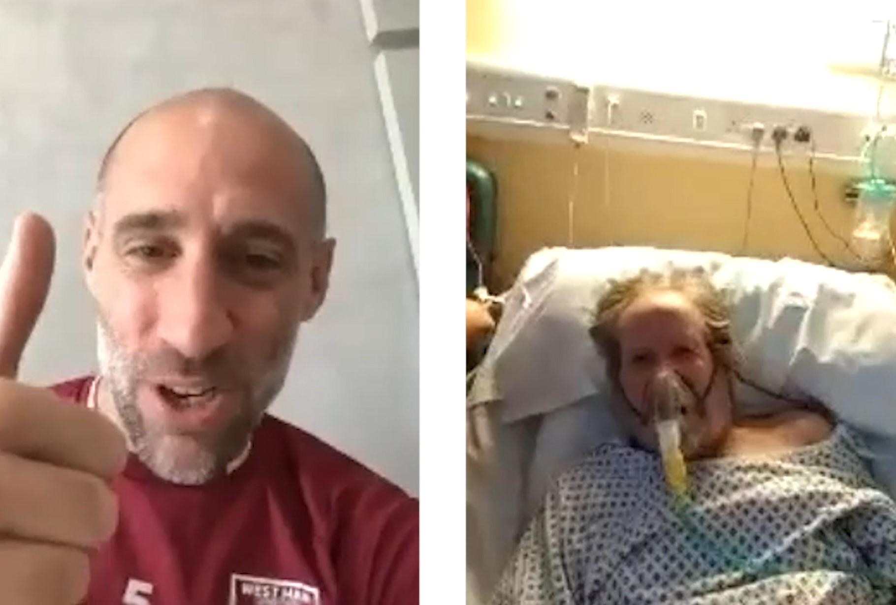 Video call between footballer and patient