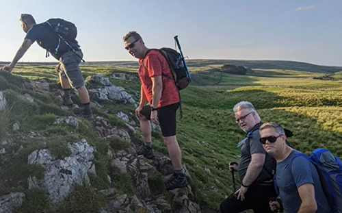 Lisa's friends doing the Yorkshire Three Peaks for Barts Hospital