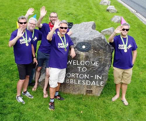 Lisa's friends doing the Yorkshire Three Peaks for St Bartholomew's Hospital
