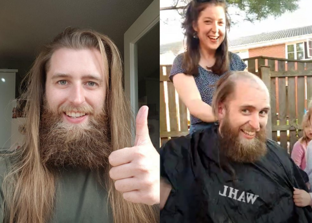 Luke before and after he braved the shave