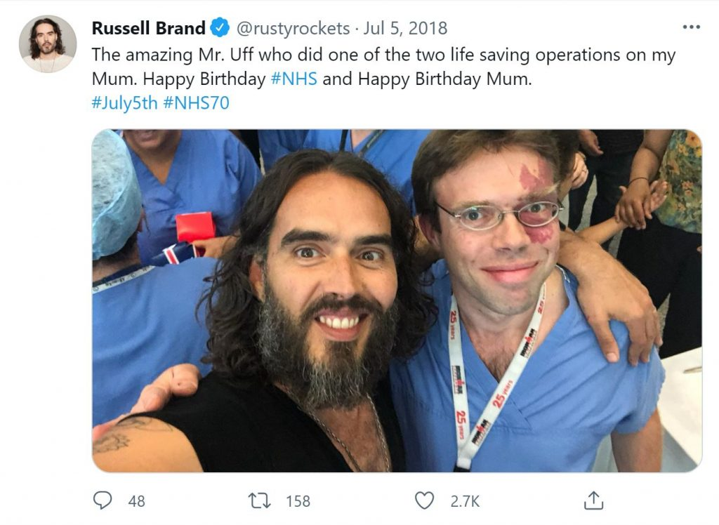 Russell Brand and Mr Chris Uff